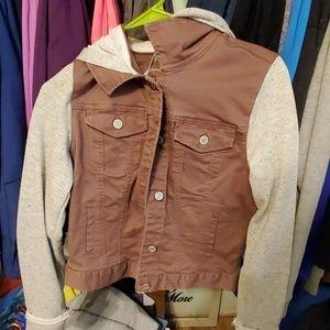 Denim jacket with sweatshirt sleeves